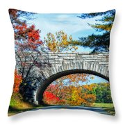 Blue Ridge Autumn Bridge Throw Pillow