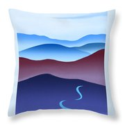 Blue Ridge Blue Road Throw Pillow by Catherine Twomey