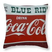 Blue Ridge Coca Cola Sign Throw Pillow