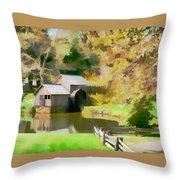 Blue Ridge Grist Mill Throw Pillow