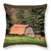Blue Ridge Horses Throw Pillow