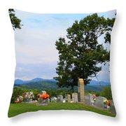 Blue Ridge Mountain Cemetery Throw Pillow