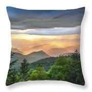 Blue Ridge Parkway Nc - Golden Rainbow Throw Pillow