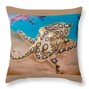 Blue Ringed Octopus I Throw Pillow