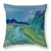 Blue River Landscape I, 1988 Oil On Canvas Throw Pillow