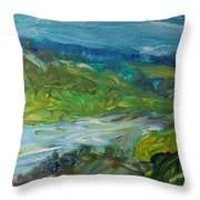 Blue River Landscape II, 1988 Oil On Canvas Throw Pillow