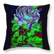 Blue Rose In Glass Throw Pillow