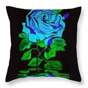 Blue Rose In The Rain Throw Pillow