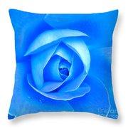 Blue Rose Macro Shot Throw Pillow