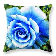 Blue Rose With Brushstrokes Throw Pillow