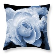 Blue Roses With Raindrops Throw Pillow
