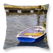 Blue Row Boat Throw Pillow