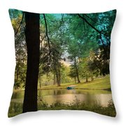 Blue Rowboat On Golden Pond Throw Pillow