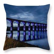 Blue Royal Border Bridge Throw Pillow