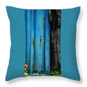 Blue Rusty Farm Gate Throw Pillow