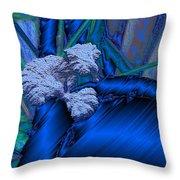 Blue Satin And Mushroom Throw Pillow