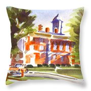 Blue Shadows With A Red Courthouse Throw Pillow