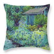 Blue Shed Throw Pillow
