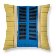 Blue Shutter Door - New Orleans Throw Pillow