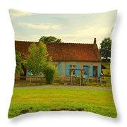 Blue Shuttered Cottage Throw Pillow