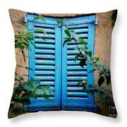 Blue Shuttered Window Throw Pillow