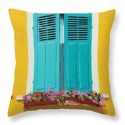 Blue Shutters And Flower Box Throw Pillow