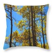 Blue Skies And Golden Aspen Trees Throw Pillow