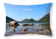 Blue Skies At Jordan Pond Throw Pillow by Kathleen Garman