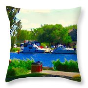 Blue Skies Boats And Bikes Montreal Summer Scene The Lachine Canal Seascape Art Carole Spandau Throw Pillow