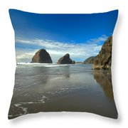Blue Skies Over Meyers Beach Throw Pillow by Adam Jewell