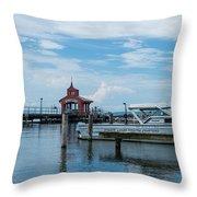 Blue Skies Over Seneca Lake Marina Throw Pillow