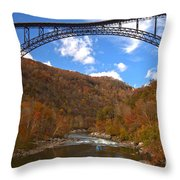 Blue Skies Over The New River Bridge Throw Pillow