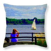 Blue Skies White Sails Drifting Blonde Girl And Collie Watch River Run Lachine Scenes Carole Spandau Throw Pillow