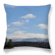 Blue Sky Day In The Adirondacks Throw Pillow