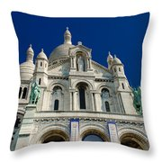 Blue Sky Over Sacre Coeur Basilica Throw Pillow