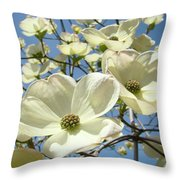 Blue Sky Spring White Dogwood Flowers Art Prints Throw Pillow