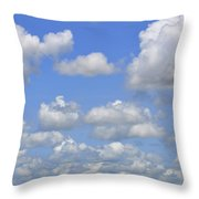 Blue Sky With Cumulus Clouds Day Usa Throw Pillow