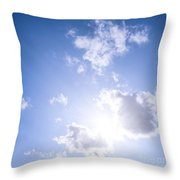 Blue Sky With Sun And Clouds Throw Pillow