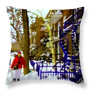Blue Snowy Staircase And Birch Tree Montreal Winter City Scene Quebec Artist Carole Spandau Throw Pillow