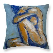 Blue Soul - Female Nude Throw Pillow