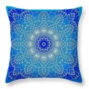 Blue Space Flower Throw Pillow