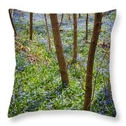 Blue Spring Flowers In Forest Throw Pillow