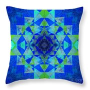 Blue Sri Yantra Variation Throw Pillow