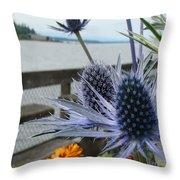 Blue Star Sea Holly Throw Pillow