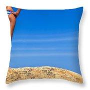Blue Striped Bikini Throw Pillow by Diane Diederich