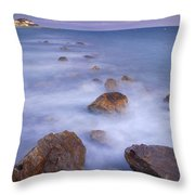 Blue Sunset At The Rocks Throw Pillow