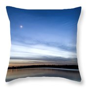 Grapevine Lake Blue Sunset Throw Pillow