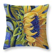 Blue Sunshine Throw Pillow