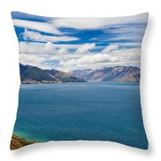 Blue Surface Of Lake Hawea In Central Otago Of New Zealand Throw Pillow