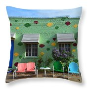 Blue Swallow Motel In Tucumcari In New Mexico Throw Pillow